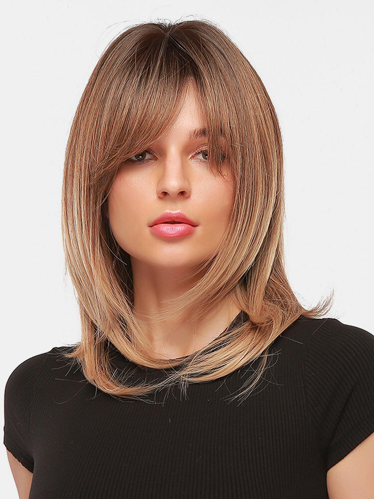 20 Inch Light Brown Hierarchical Medium-Long Straight Hair Fluffy Full Head Cover Wig