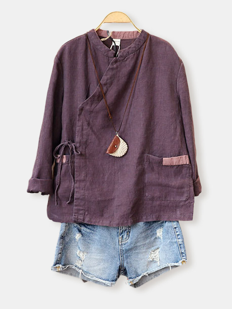 Solid Color Stand Collar Button Drawstring Blouse With Pocket