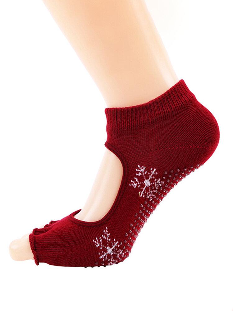 Women Yoga Socks Half Toe Non Slip Massage Sport Socks Half-fingers Cotton Warm Exercise Toe Socks