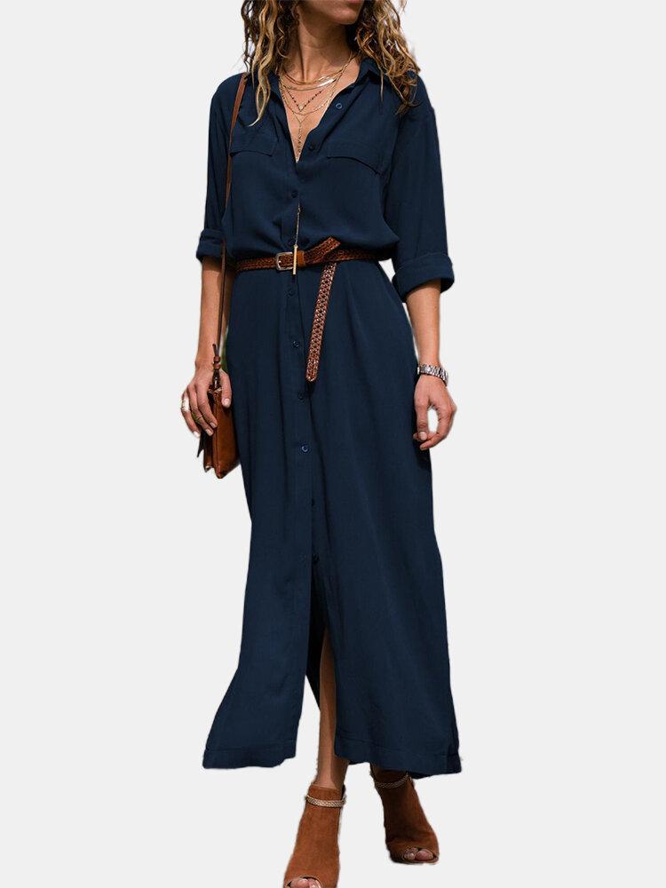 Blusa con botones y cuello vuelto en color liso con abertura Vestido