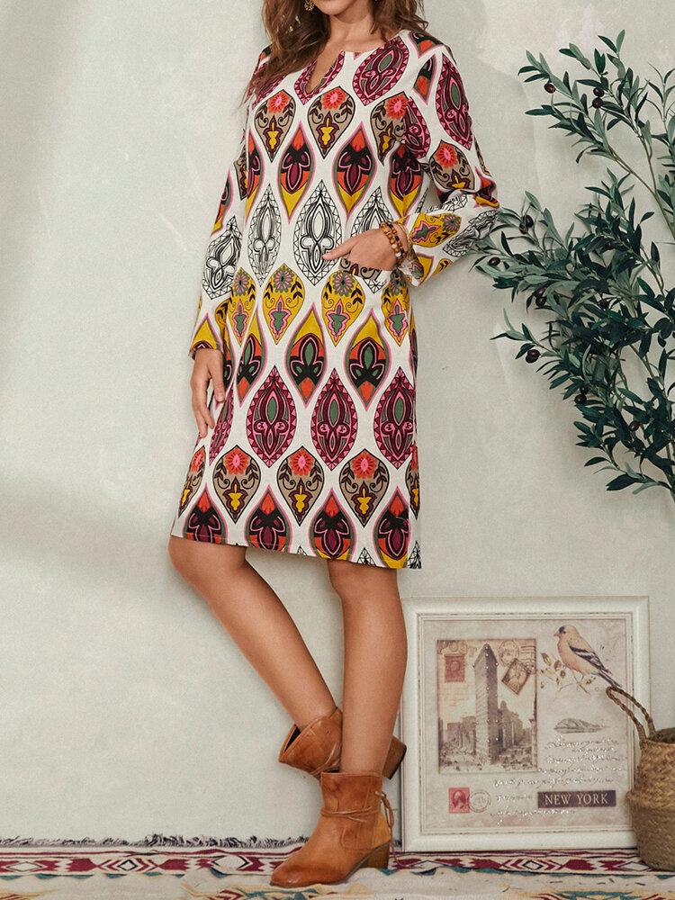 Bohemian Ethnic Print Pocket Long Sleeve Casual Dress for Women
