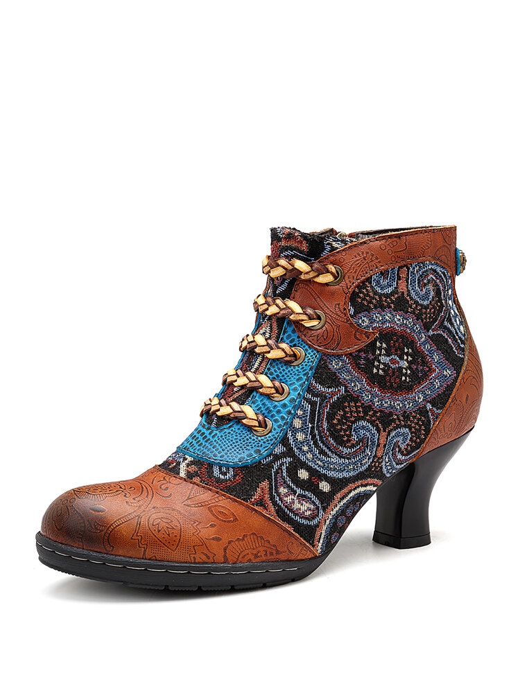 SOCOFY Retro Heel Genuine Leather Splicing Zipper Lace Up Ankle Comfortable Boots