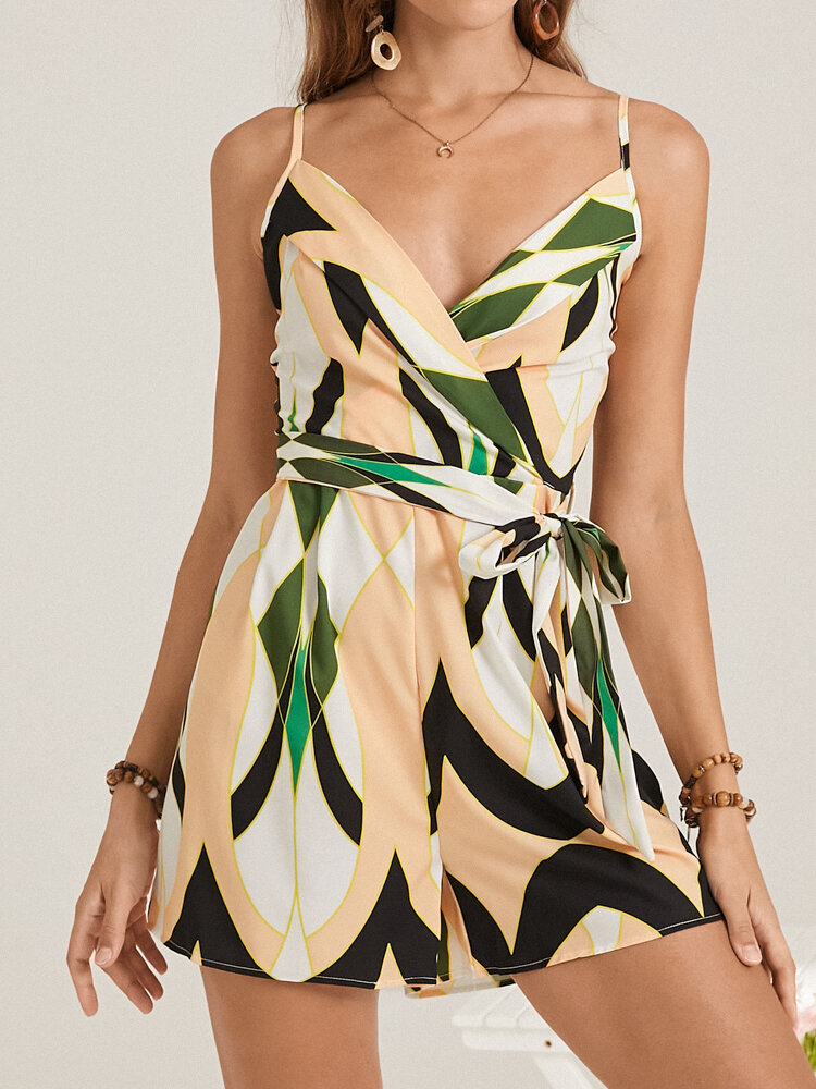 Geometric Print V-neck Knotted Waistband  Zip Back Holiday Strap Romper