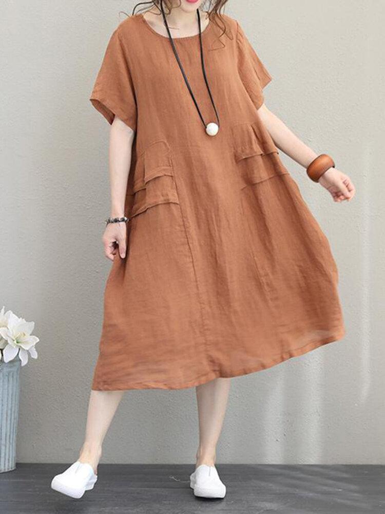 Crew Neck Short Sleeve Soild Color Casual Dress