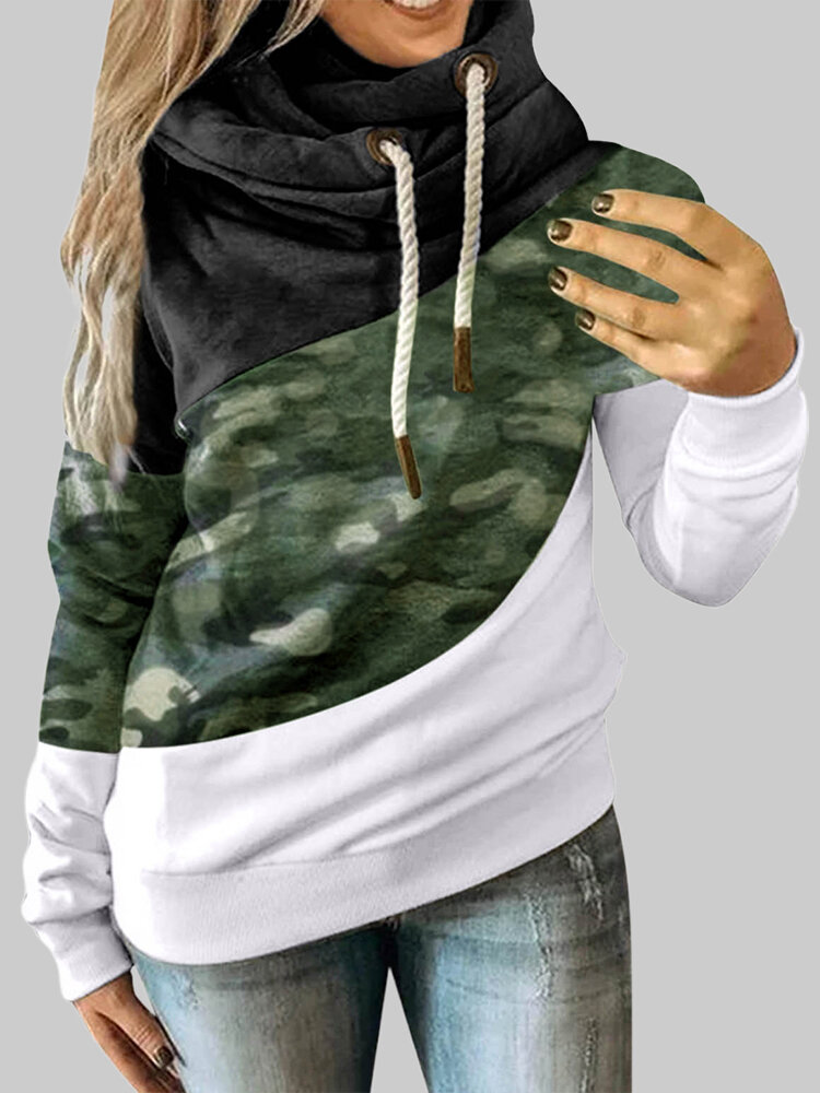 Camouflage Prined Long Sleeve Pile Collar Patchwork Sweatshirt For Women
