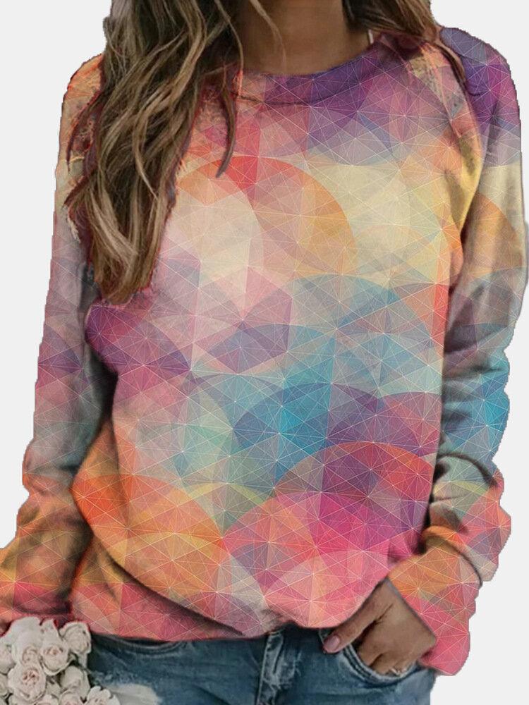 女性のためのマルチカラーの幾何学的なプリントカジュアルスウェットシャツ