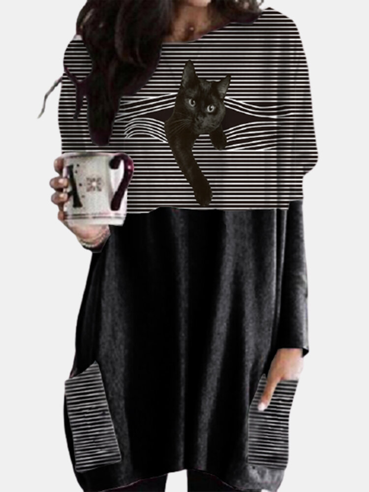 Black Cat Patched Print Long Sleeve O-neck White Striped Blouse