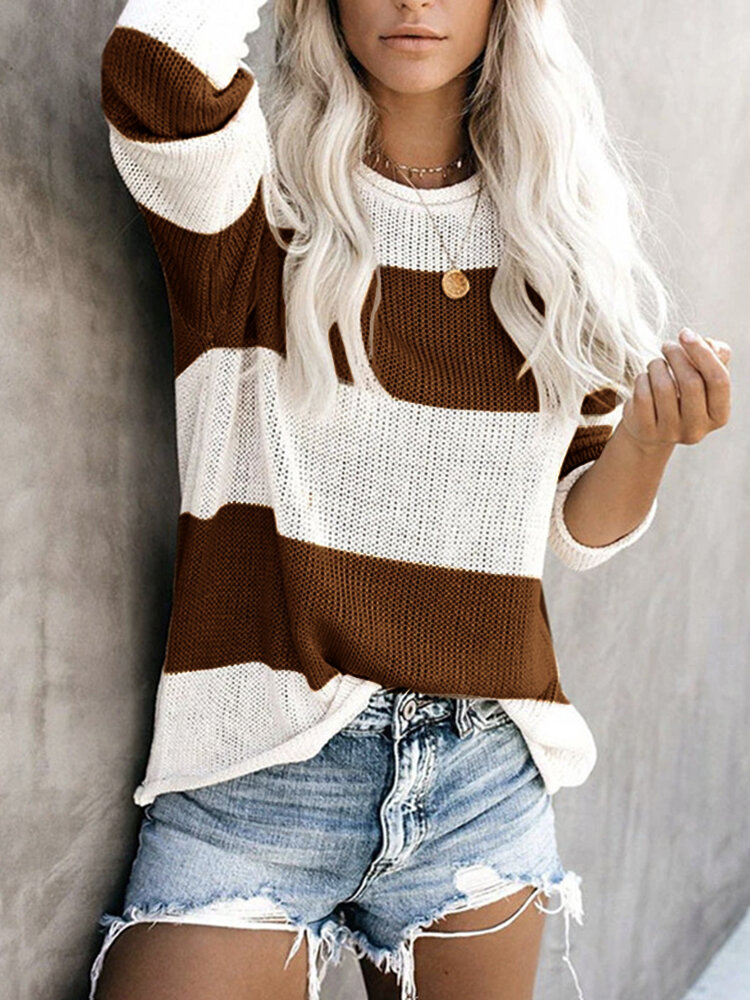 Striped Long Sleeve O-neck Casual Sweater For Women