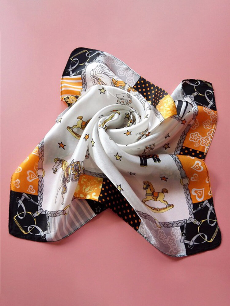 Women Printed Silk Small Square Facecloth Scarves Scarf