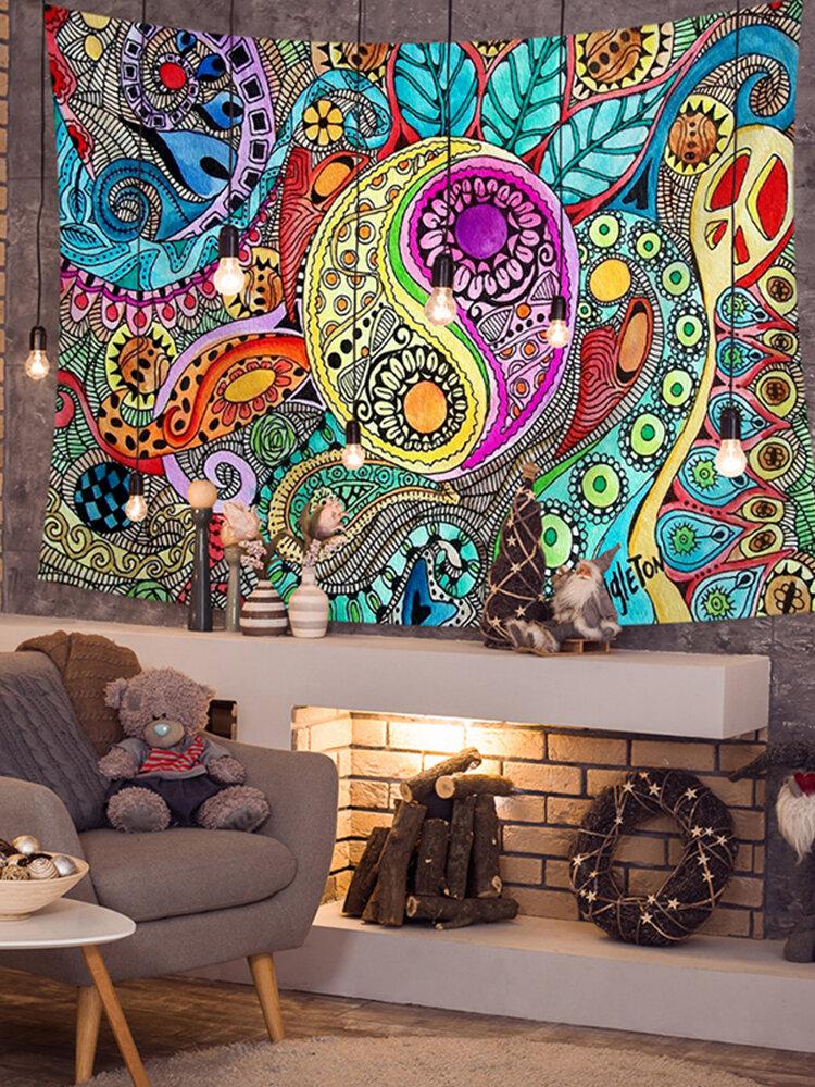 カラフルな抽象的な太陽神太地図タペストリービーチタオルヨガタオルリビングルームアート装飾