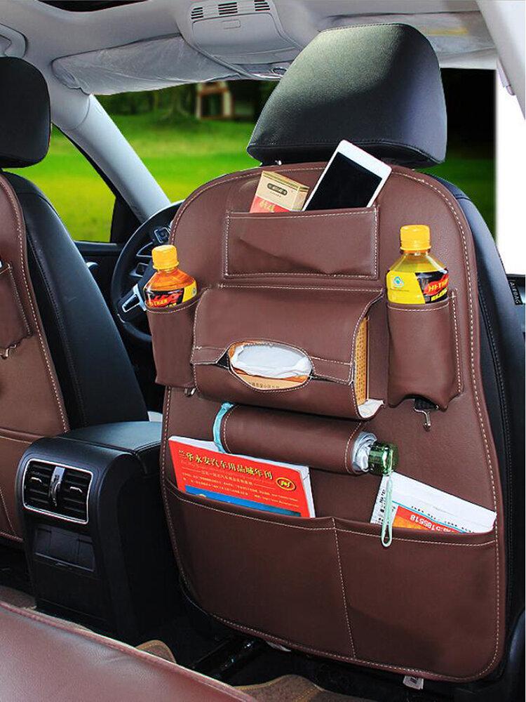 Leather Multi-Pocket  Car Seat Back Bag Organizer Storage Phone Cup Tissue Holder