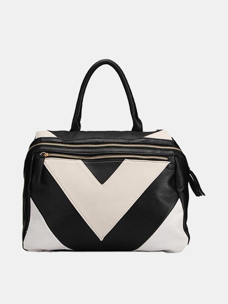 Stylish Women Patchwork Color Block Crossbody Bag Handbag