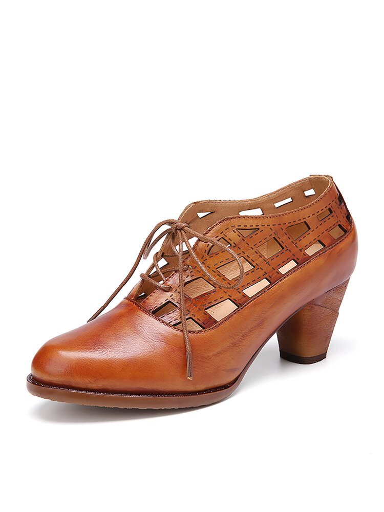 SOCOFY Retro Cutout Cowhide Leather Solid Color Comfy Wearable Casaul Lace-up Heels Shoes