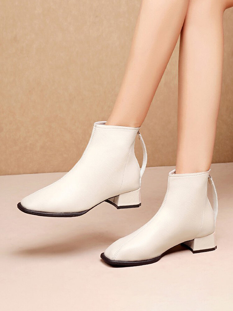 Women British Style Squared Toe Leather Back Zipper Chunky Heel Shorts Boots