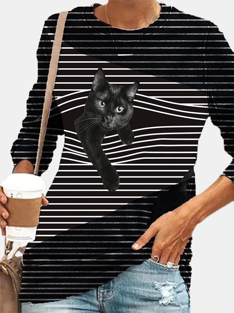 Striped Cat Print Patchwork Plus Size Casual T-shirt