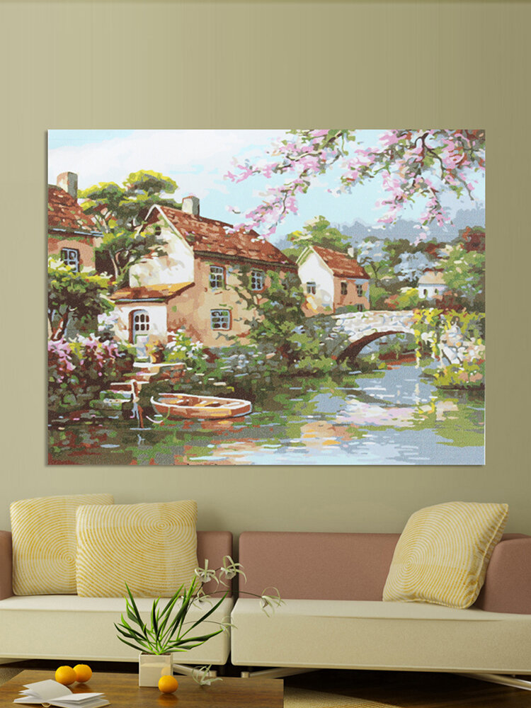 40*30cm Bridge River DIY Digital Drawing Oil Painting By Number On Canvas Craft
