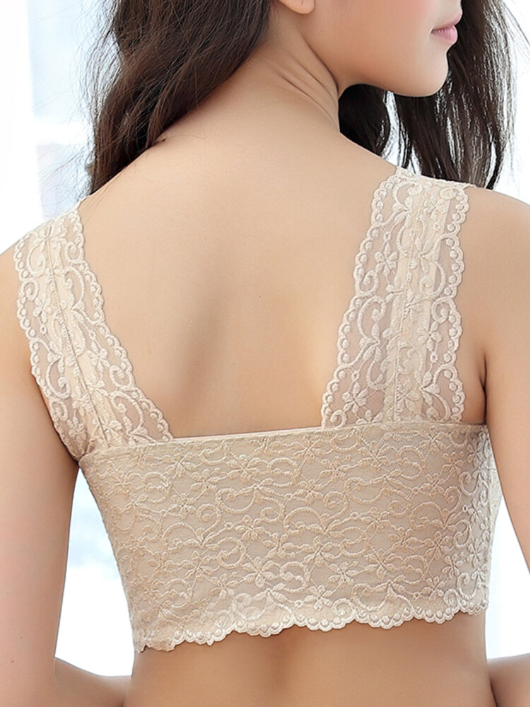 Lace Zip Front Wireless Full Cup Cotton Lining Bras