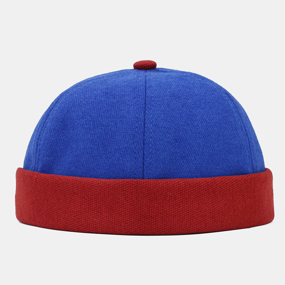 Men & Women Contrast Solid Color Casual Brief Brimless Beanie Landlord Cap Skull Cap