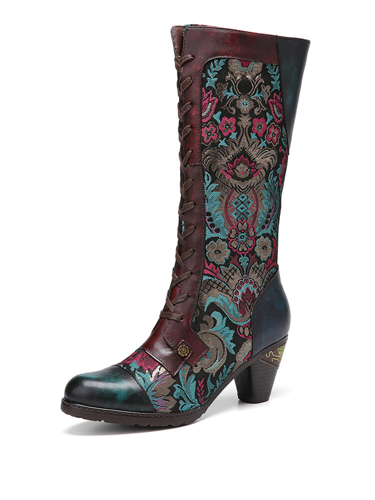 SOCOFY Flowers Embroidery Splicing Genuine Leather Comfy Side Zipper Short Heel Mid-calf Boots