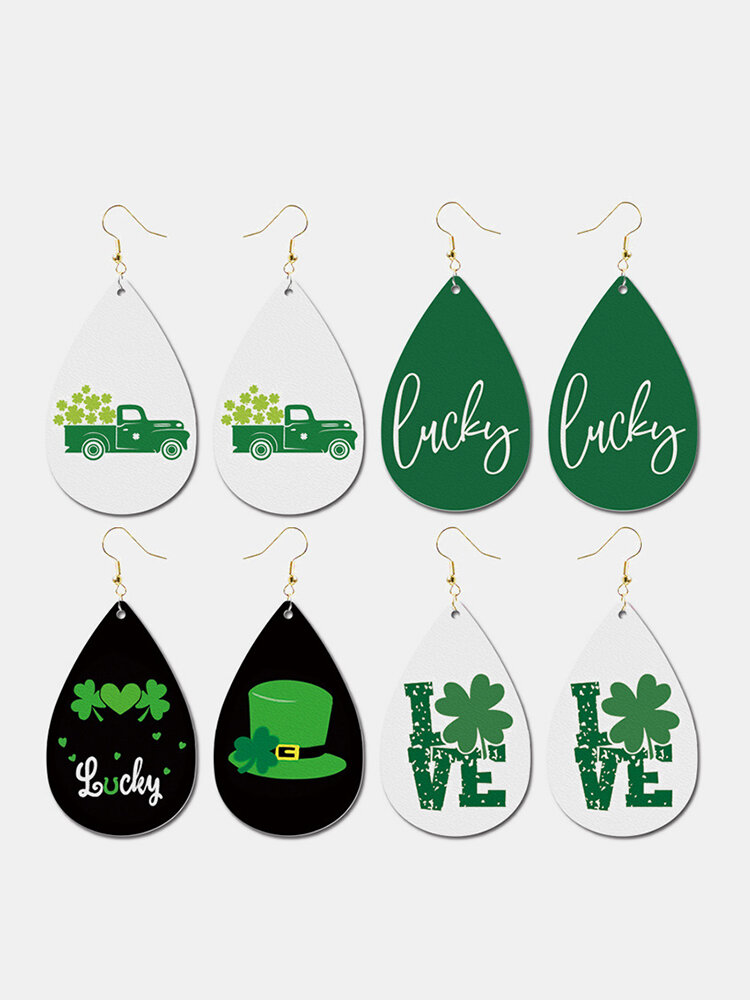 Irish Festival Clover Waterdrop Earrings Faux Leather Earrings Green Hat Car Jewelry Party Gift