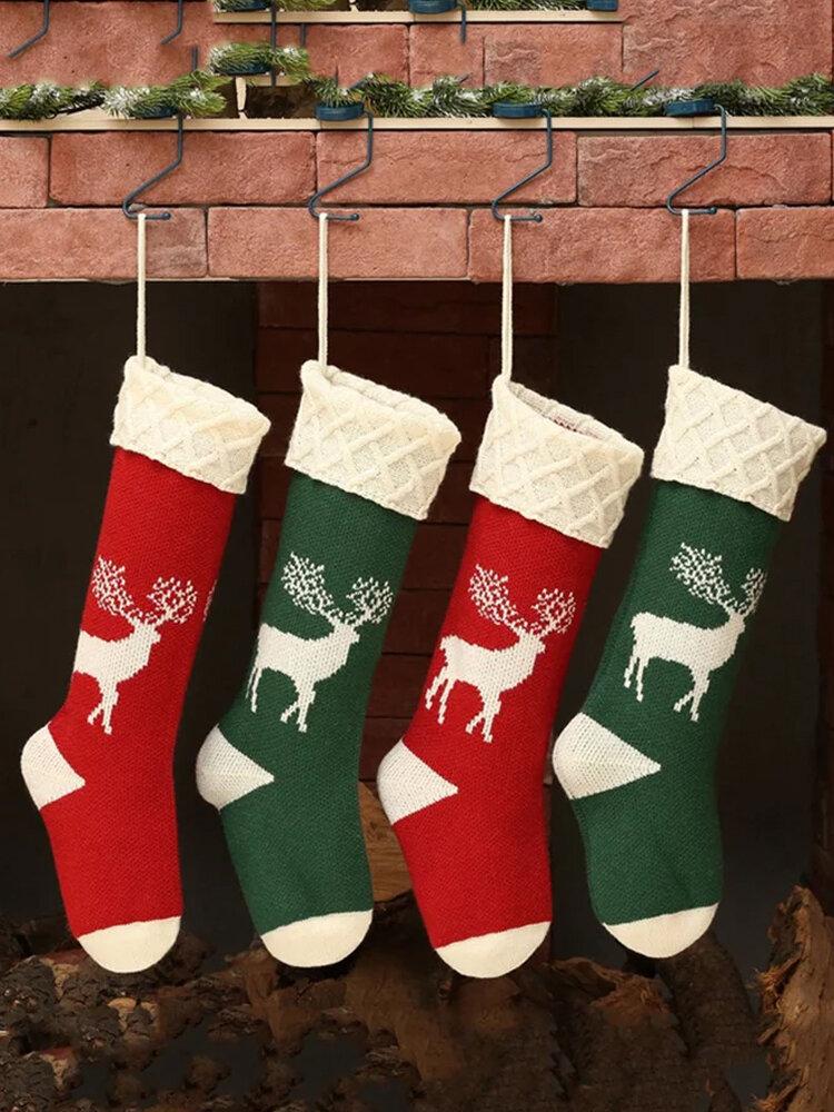 Women Christmas Knitted Socks Gift Bag Home Decoration Wool Elk Candy Bag