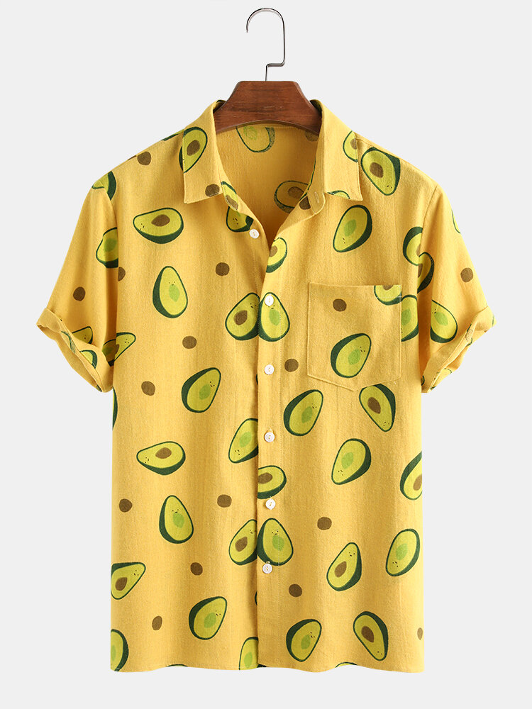 100% Cotton Funny Avocado Printed Short Sleeve Shirt