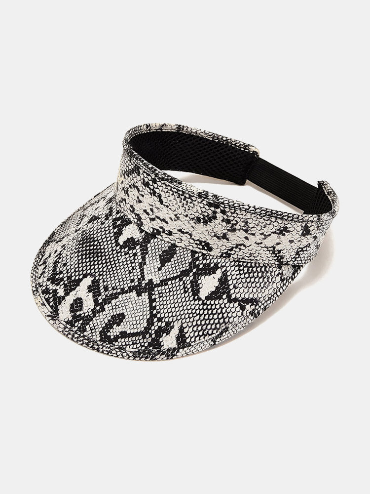 Unisex Leather Overlay Snake Print Fashion Sunscreen Empty Top Hat