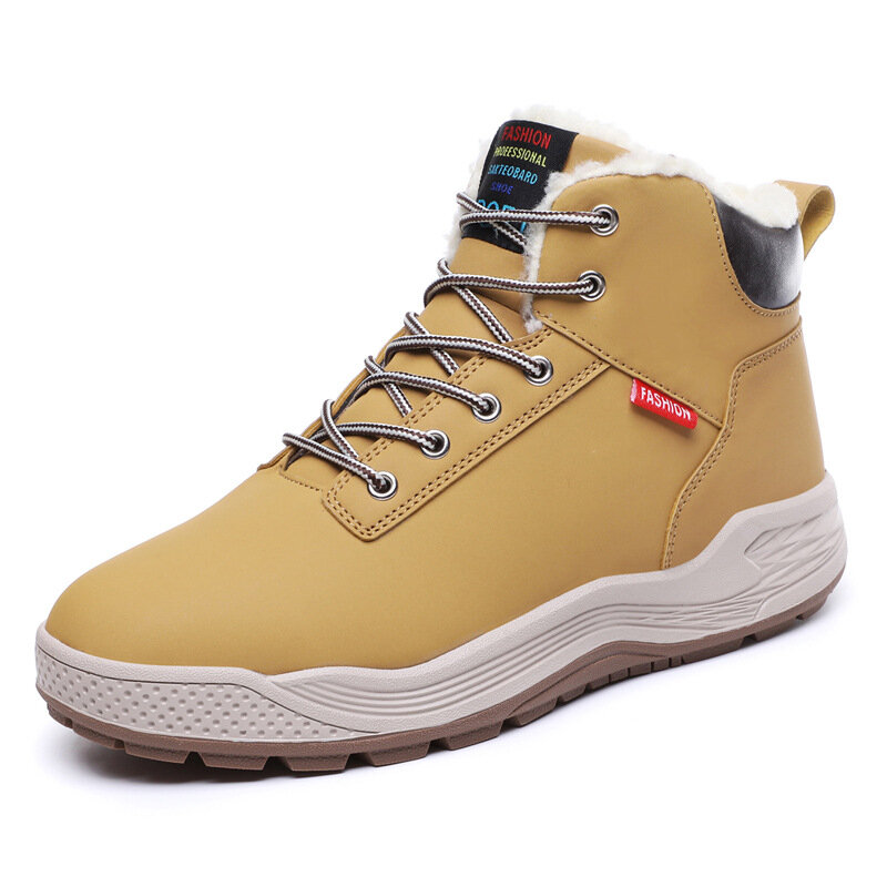 Large Size Men Slip Resistant Warm Lining Outdoor Casual Leather Boots