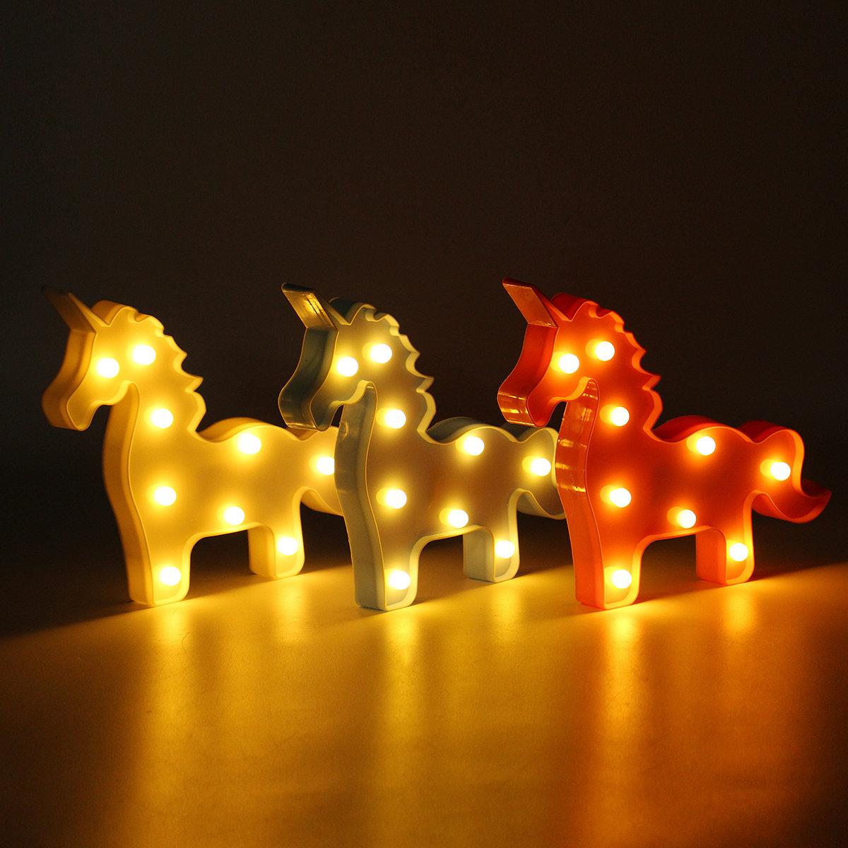 Unicorn LED Night Light Battery Lamp Baby Kids Bedroom Living Room Home Decor