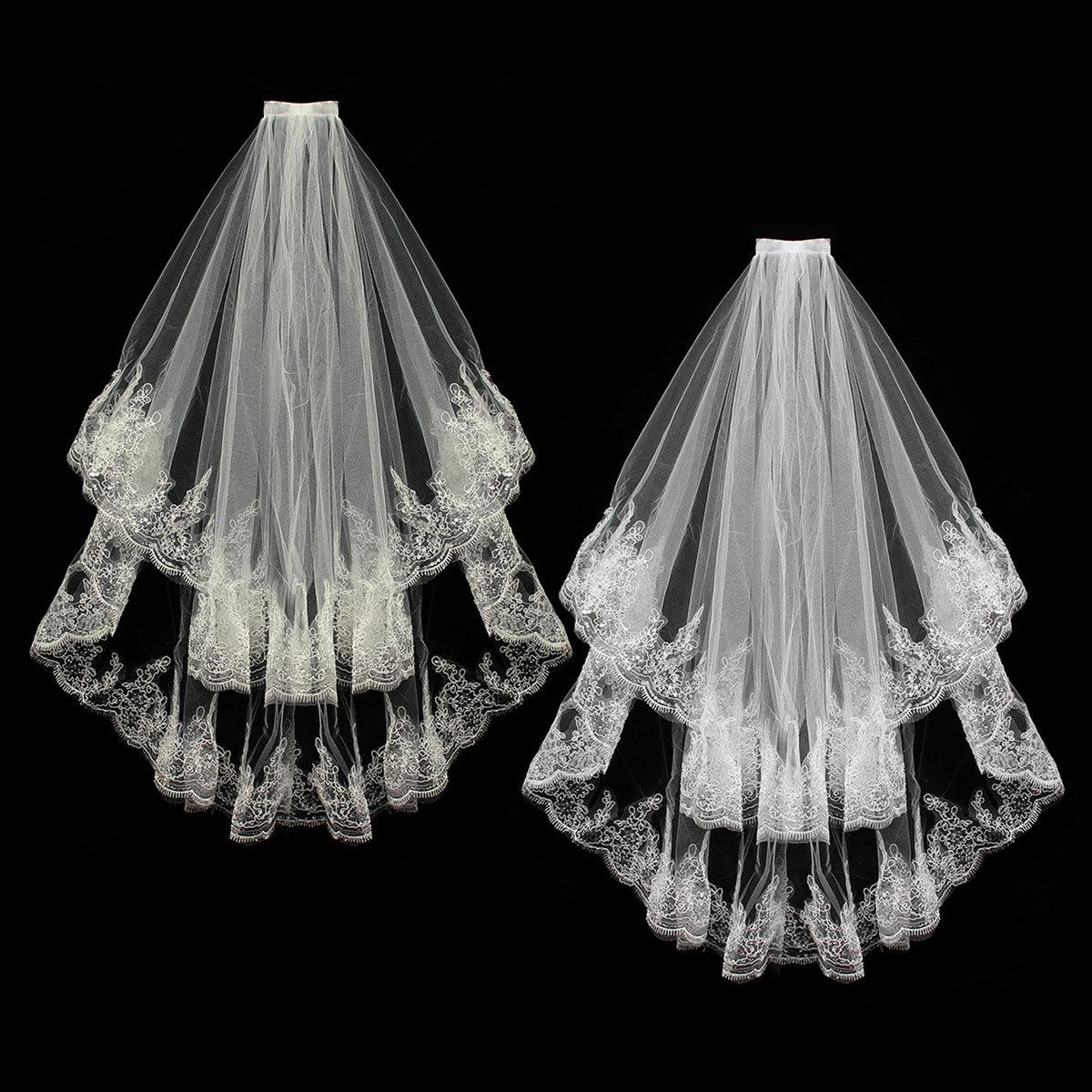 2 Layers Bride Lace Sequin Decorative Edge Bridal Wedding Elbow Veil With Comb