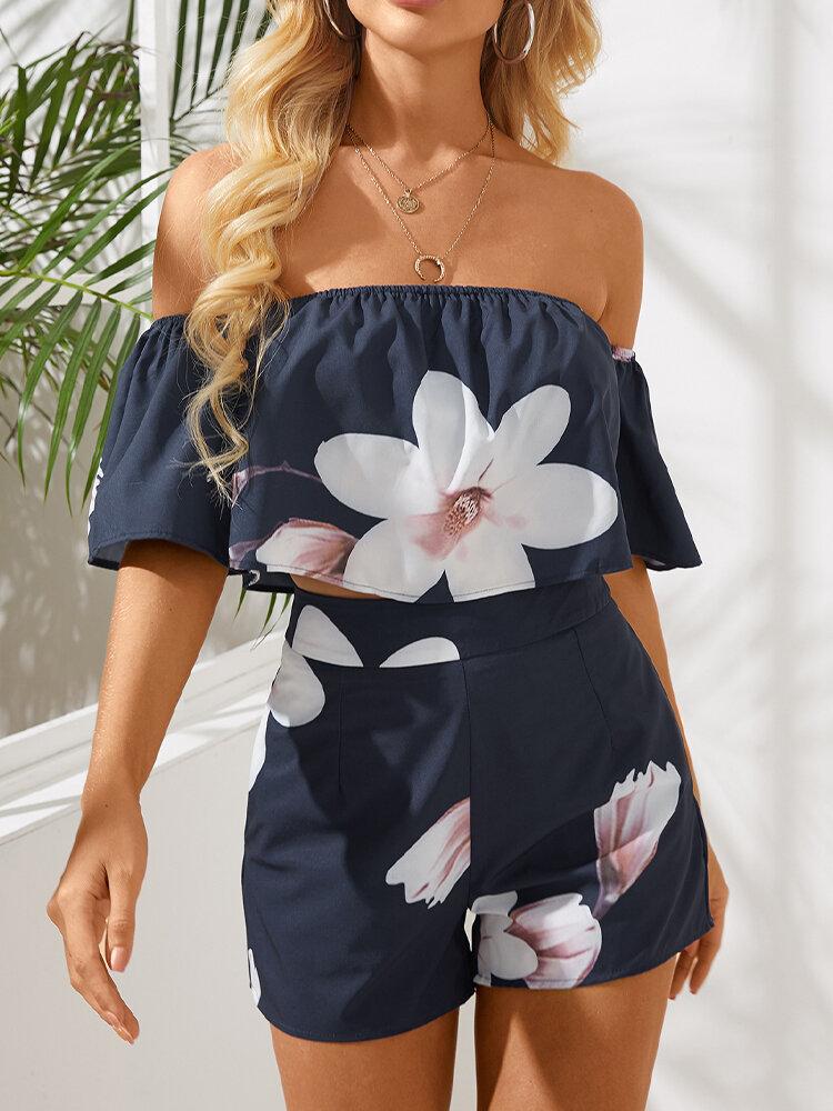 Floral Print Off-shoulder Short Sleeve Casual Romper for Women