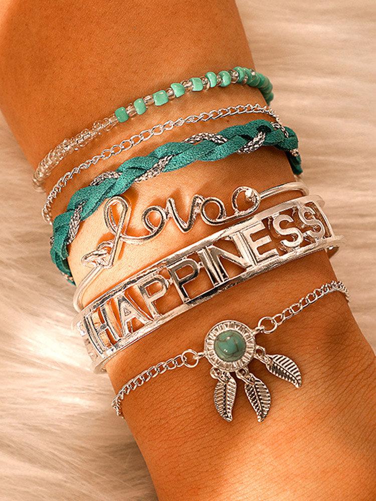 Bohemian Dreamcatcher Pendant Bracelet Turquoise Braided Rope Letter Silver Bracelet Set