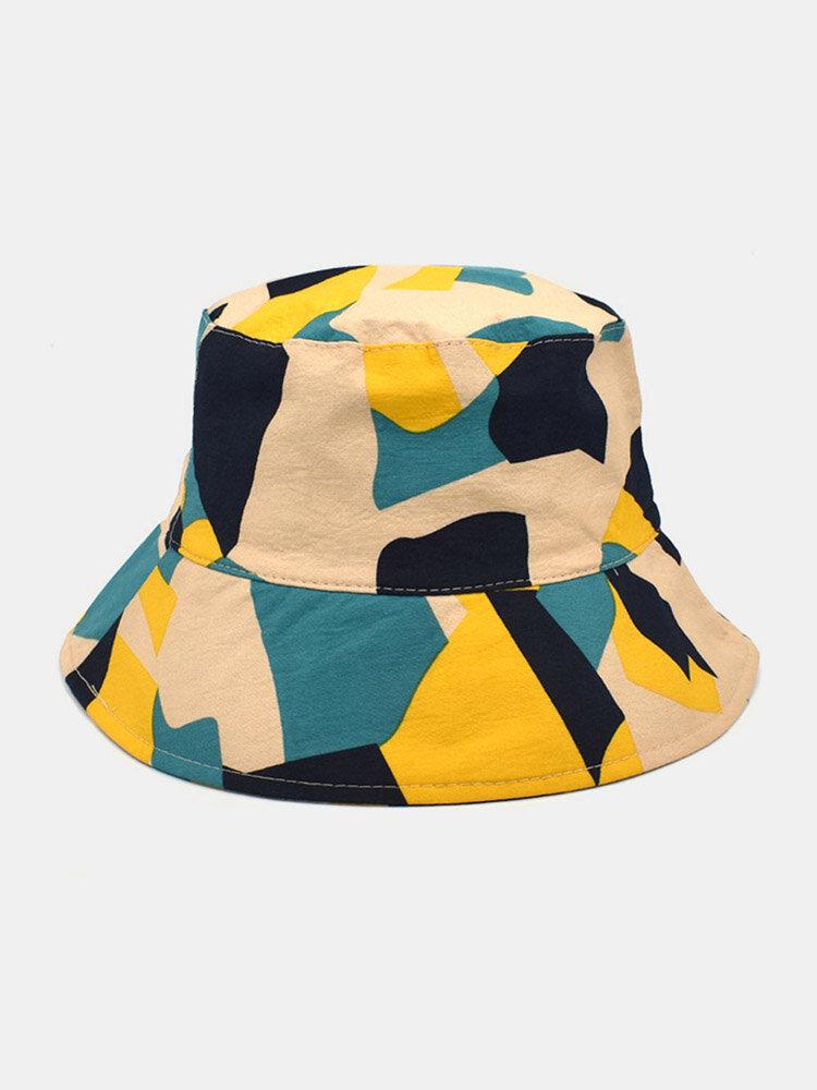 ユニセックス コットン Colorful 幾何学的なカラーブロック ファッション サンシェード バケット ハット