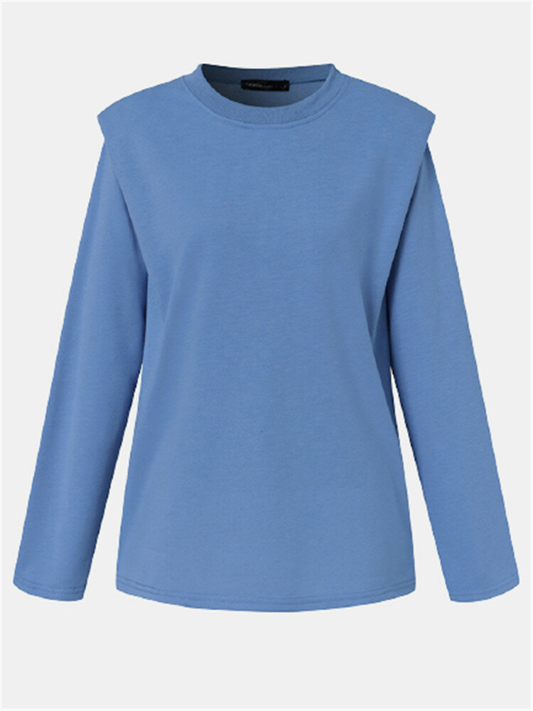 Solid Color O-neck Long Sleeve Casual Sweatshirt For Women