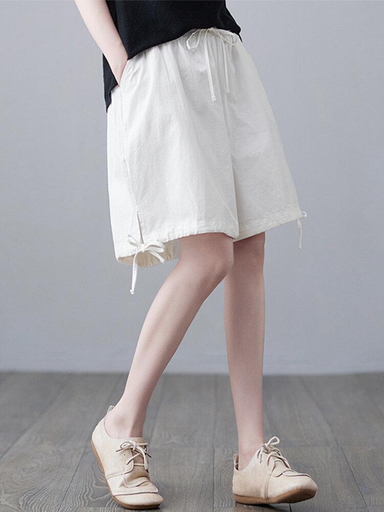 Solid Side Drawstring Elastic Waist Casual Harem Shorts