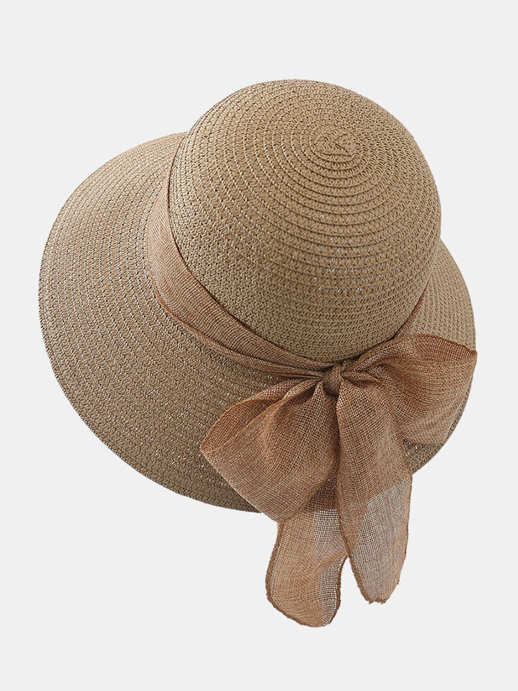 Women Straw Woven Solid Color Bowknot Decoration Outdoor Casual Sunshade Straw Hats