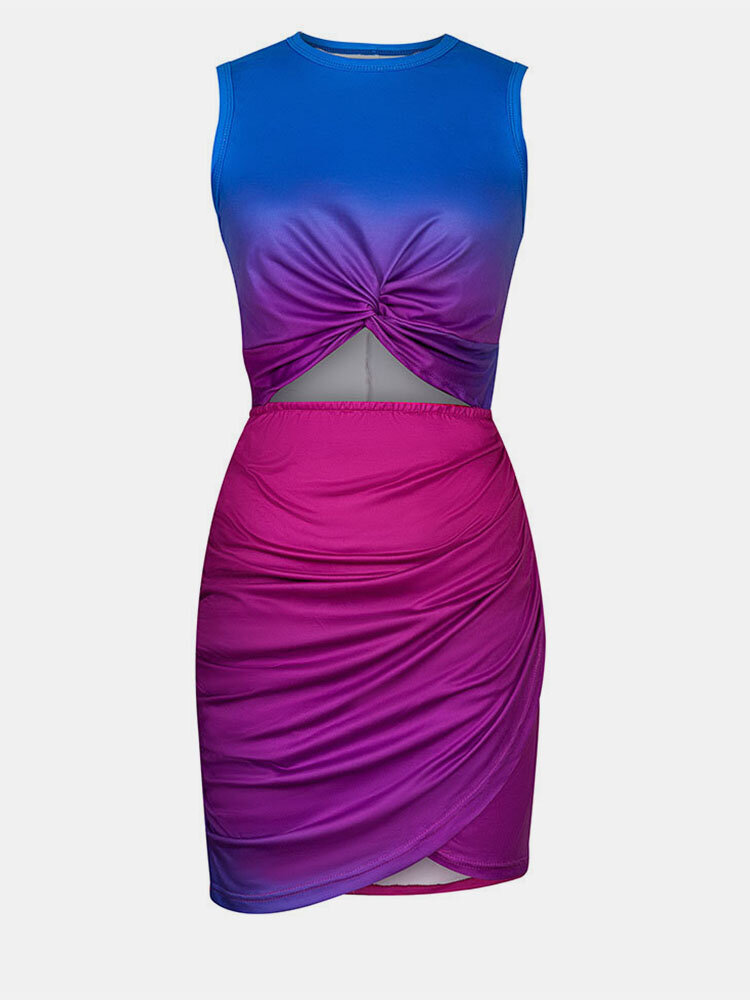 Ombre Sleeveless O-neck Hollow Twsited Women Sexy Dress