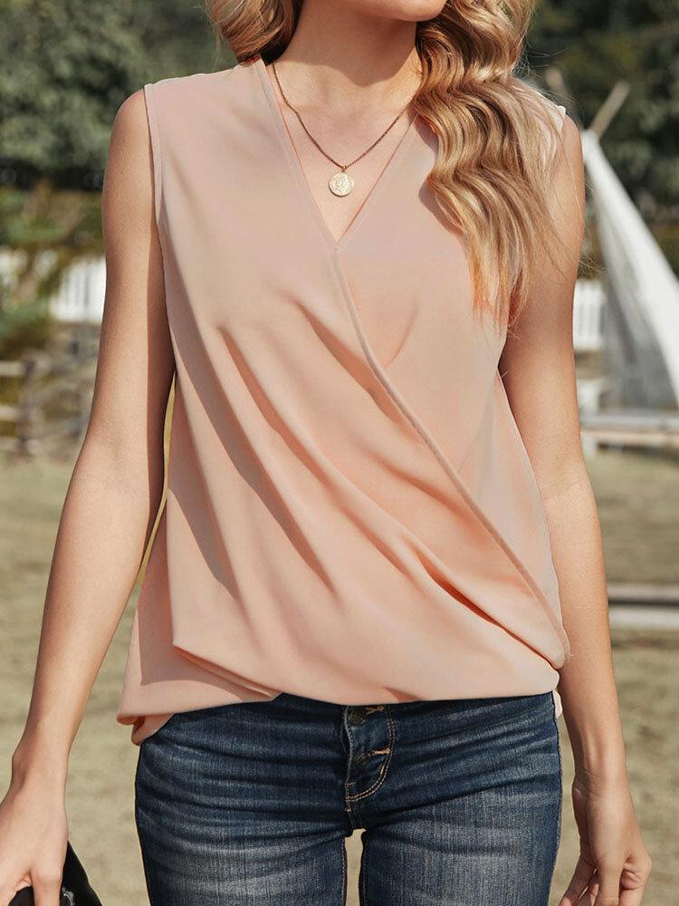 Solid V-neck Sleeveless Tank Top for Women