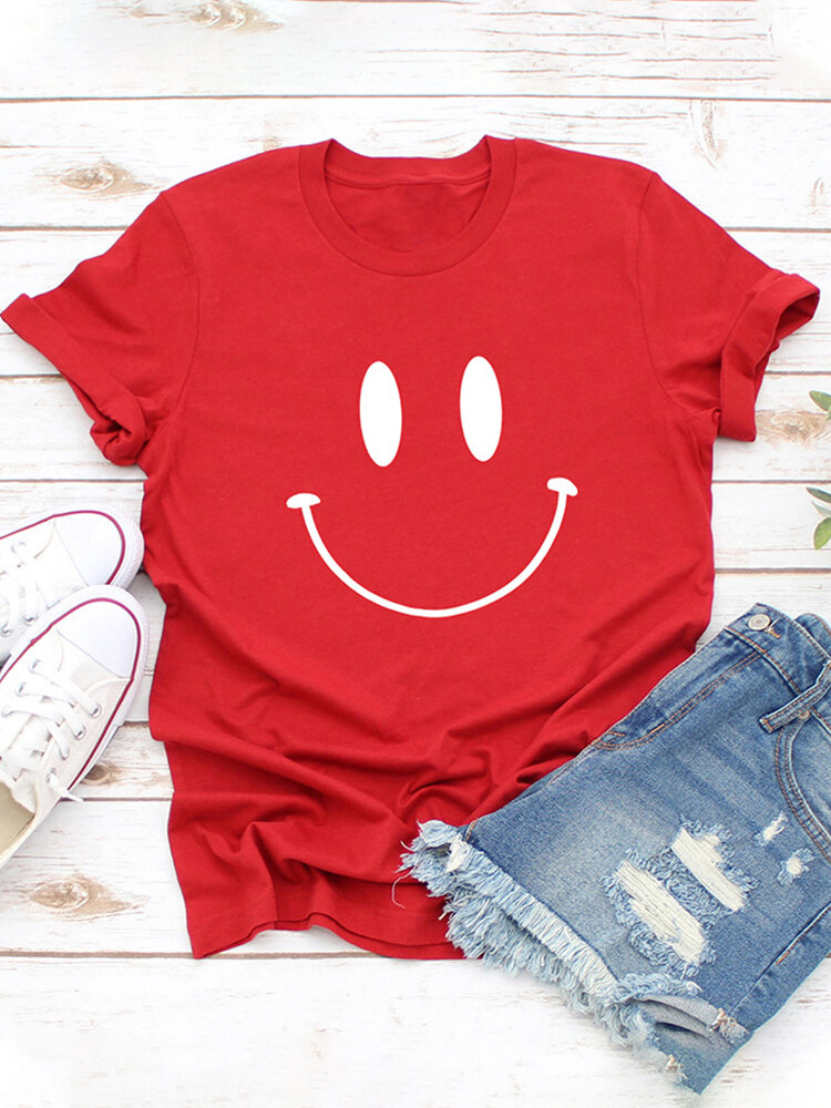 Casual Cartoon Smile Printed Short Sleeve O-neck T-Shirt For Women