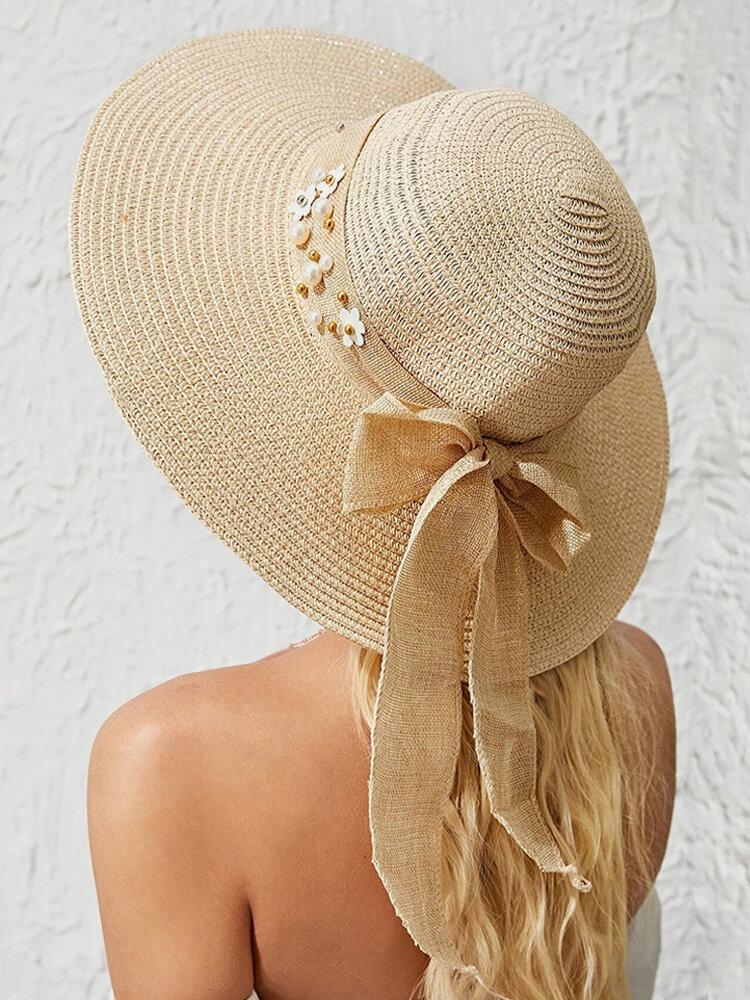 Women Wide Brim Summer Beach Holiday Bowknot Sunshade Straw Hat Bucket Hat