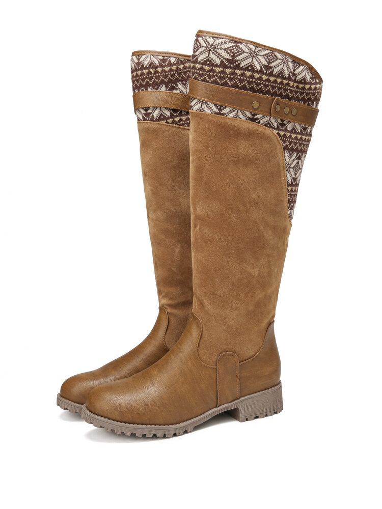 Women Casual Warm Flowers Letter Pattern Mid-Calf Boots