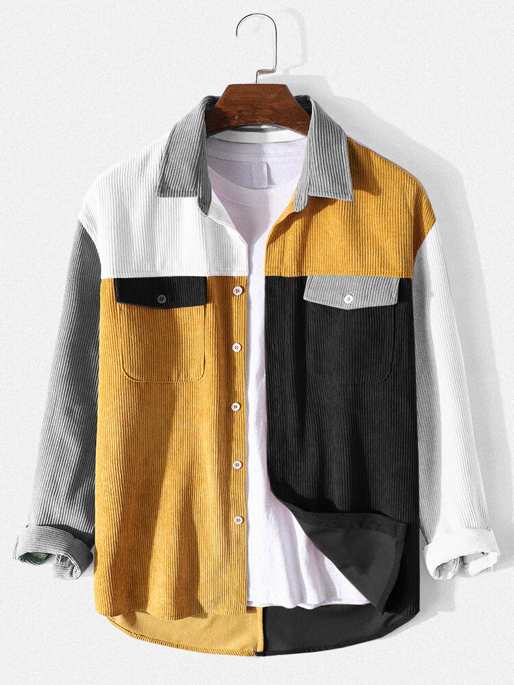 Mens Corduroy Panel Patchwork Button Up Casual Long Sleeve Shirts