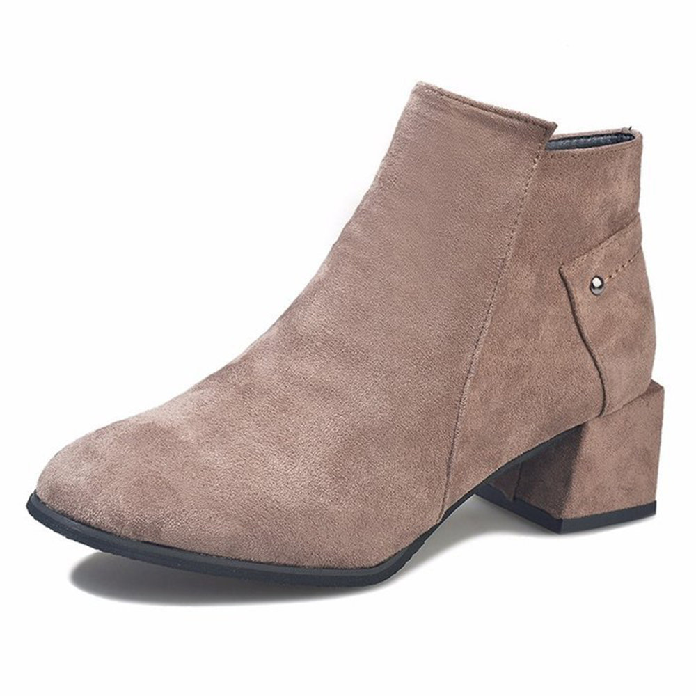 Suede Lining Square Heel Zipper Ankle Boots
