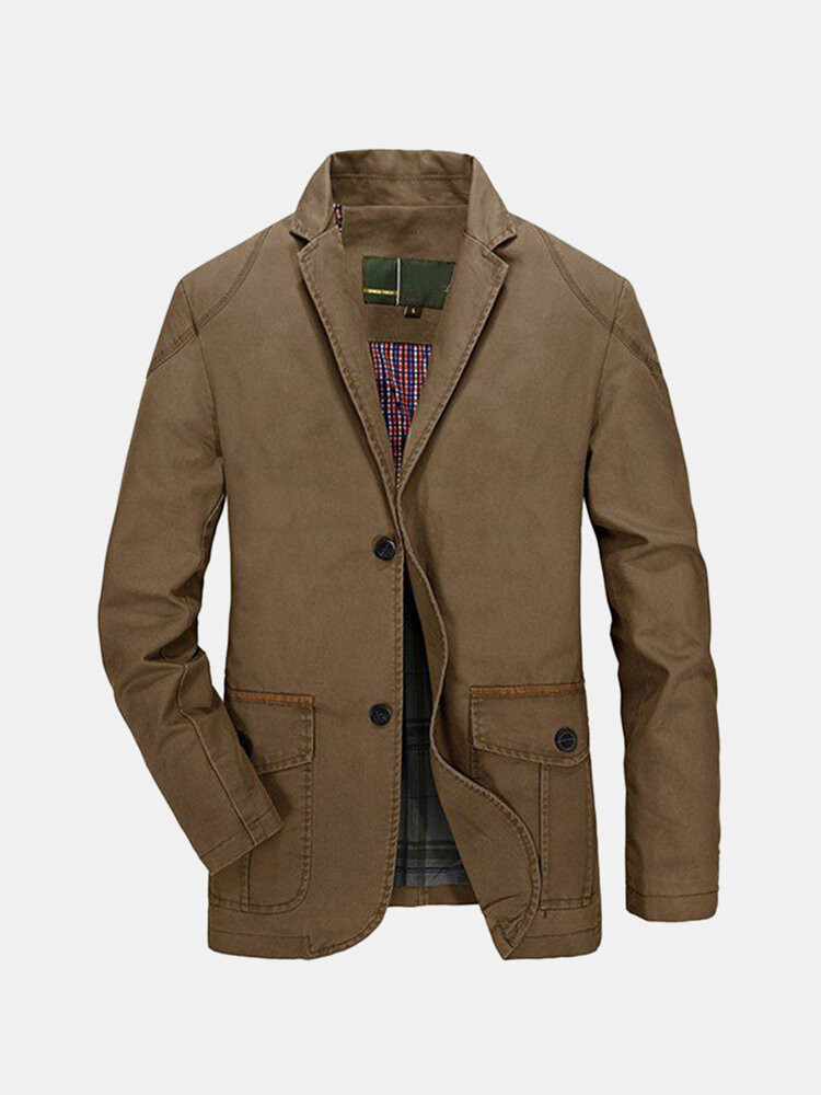 Men's Spring Fall Casual Business Cotton Blend Jacket Coat