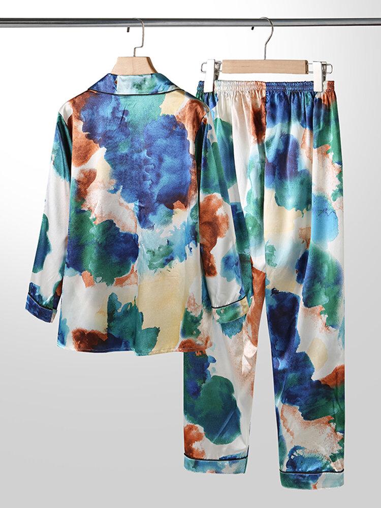Plus Size Women Tie-Dye Ice Silk Lapel Collar Two Pieces Pajamas With Pocket