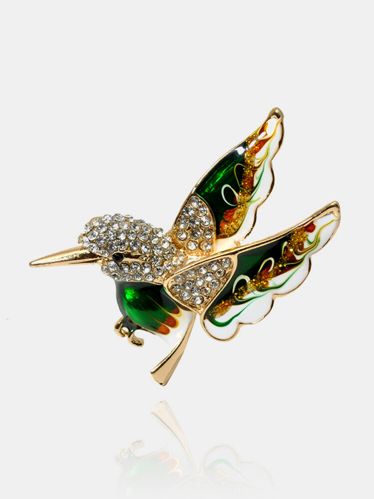 Elegant Colorful Spreading the Wings Bird Brooches Green Peace Bird Clothing Jewelry for Women