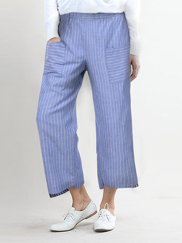 Irregular Hem Striped Casual Straight Plus Size Pants With Front Pockets