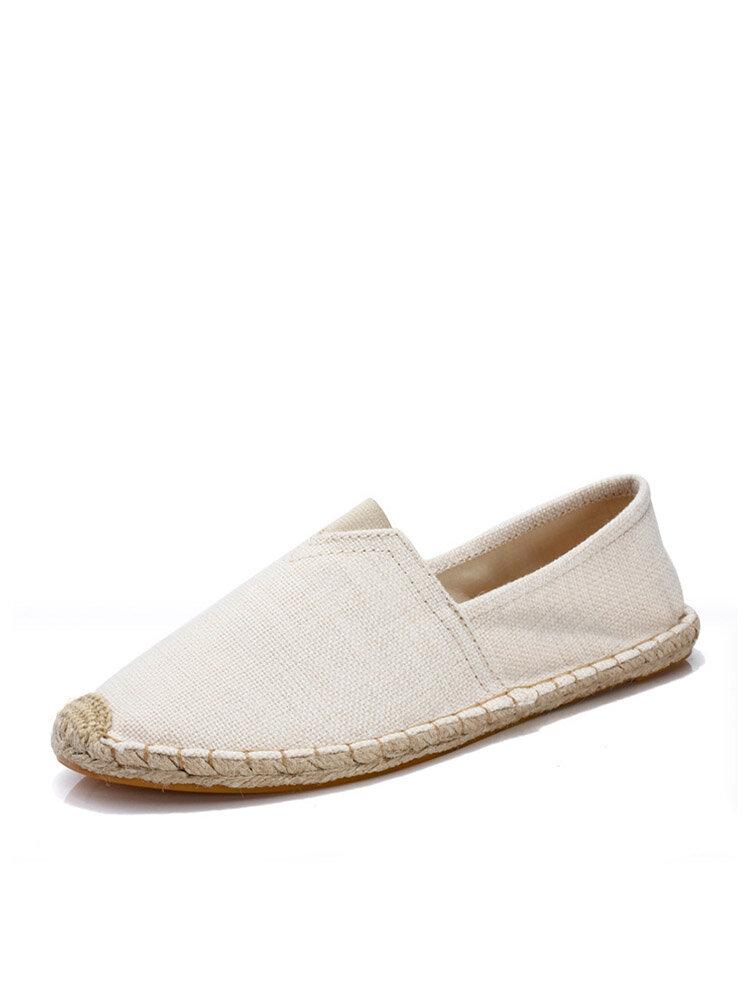 Plus Size Women Solid Color Espadrilles Fisherman Flat Shoes