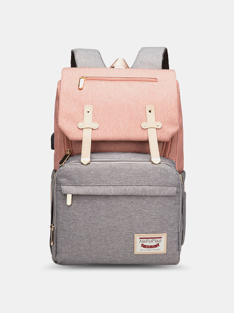Women Multifunction Large Capacity Patchwork Mommy Backpack