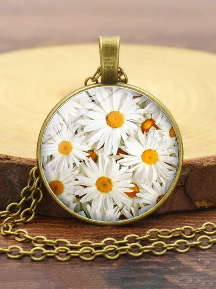 Alloy Glass Vintage Daisy Floral Pattern Printed Long Sweater Necklace